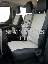 TO FIT A FORD TRANSIT CUSTOM VAN SEAT COVERS- 2014, SPORT, BIEGE/BLK LEATHERETTE