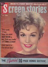 Screen Stories November 1958 Ricky Nelson Tony Curtis Kim Novak Paul Newman
