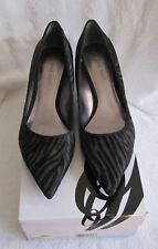 NIB Nine West Onfireo Women's Black Gray Leather Pointy Toe Kitten Heel Pump 7 M