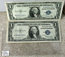 1935 E $1 Silver Certificate 2 Sequential Numbered AVG Currency FRN Paper Money