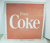 """Vintage 1960s Metal 24"""" x 24"""" Red White Enjoy Coke Advertising Store Front Sign"""