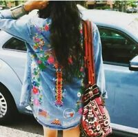 Women AW Floral Embroidered Long Sleeve Denim Top Blouse Shirt Bloggers Blue SML