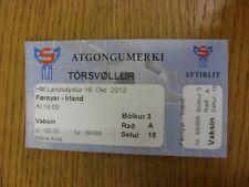 16/10/2012 Ticket: Faroe Islands v Republic Of Ireland [At Tórsvollur, Tórshavn]