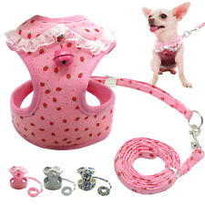 Mesh Soft Dog Harness & Leash with Bell  for Pet Puppy Vest Chihuahua XS S M