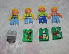 Lego Duplo Bob the Builder Figure Lot - 4 Minifigures - Bob, Wendy, Decal Bricks