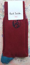 Paul Smith Mens English Socks PS Rib Woven Logo Red Orange K305 One Size Cotton