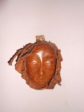 Leather Sculptured face mask wall decoration