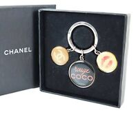 Authentic CHANEL Silvertone Key Ring and Charms #30880