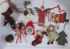 VINTAGE Lot of 10 Primitive Country Christmas Ornaments