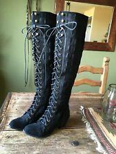 Jeffrey Campbell Free People Tall Joe Boot Black Croc Leather 7M