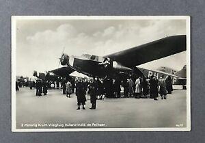 KLM FOKKER F.XVIII PELIKAAN VINTAGE AIRLINE POSTCARD 1935 REAL PHOTO RPPC