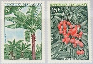 MADAGASCAR 1969 603-04 Nutzpflanzen Pflanzen Flora Bananenstaude Litschi Baum **