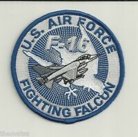"""USAF  AIR FORCE  F-16 FIGHTING FALCON 4"""" EMBROIDERED BLUE PATCH"""