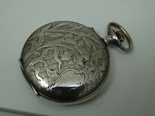 OLD 8 DAYS HEBDOMAS SILVER HUNTER POCKET WATCH BEAUTIFUL ENGRAVED CASE