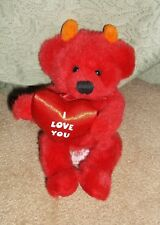 "Russ Brand Dante Label Red Devil Bear Holding A Heart ""I Love You"" Horns & Cape"