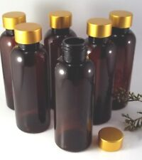 10 x Brown Plastic Empty Bottle Gold lid Cosmetic Container Lotion Packaging