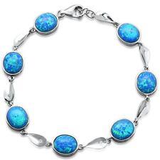 Sterling Silver Bracelet Oval Blue Opal .925