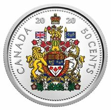 2020 CANADA NEW COLORED 50 CENTS FROM DELUXE EDITION PROF SETS .9999 SILVER