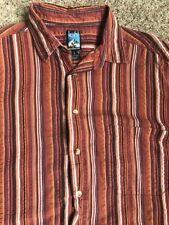 Kuhl Men's Short Sleeve Button Down Shirt Large Seersucker Weave 100% Cotton