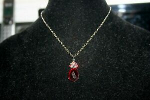 Vintage 1928 Adjustable Length Darker Necklace w/Pendant of Teardrop Red Stone
