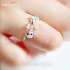 925 Sterling Silver Sparkling Crystal CZ Leaf Feather Ring UK R Bridal Party