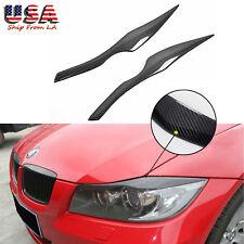Carbon Fiber Headlight Eyelid Cover Eyebrow Trim Decal for BMW E90 E91 3 Series