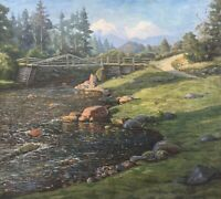 Knud Eggert Flusslandschaft in Skandinavien Norwegen Schweden? 62 x 69 cm