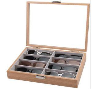 8 Glasses MDF Wood Display Case Box + Glass Lid