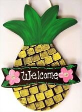 PINEAPPLE WELCOME SIGN Tiki Hawaiian Tropical Wall Plaque Mesh Wreath Accent