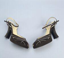 PRADA Brown Suede Platform Heels Peep Toe Sandals Shoes 36 US6 Made in Italy