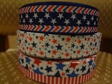 "6 yds 7/8"" 1"" Grosgrain Ribbon Patriotic 4th Fourth of July Holiday Mixed Lot"