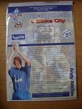 18/01/2000 Oldham Athletic V Stoke City [Auto Parabrisas Escudo] (4 páginas).