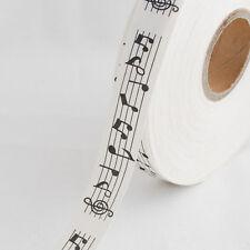 Cotton Fabric Ribbon Trim - Music Staff - Black