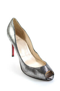 Christian Louboutin Womens Leather Peep Toe Pumps Silver Size 37.5 7.5