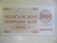 La Bosnie billet 5,000 dinara UNC P.9g (Bosian guerre) 2nd provincial numéro 1992
