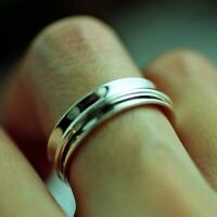 Solid 925 Sterling Silver Wide Band Spinner Ring Jewelry All Size Handmade p-21