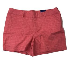 Le Tigre Womens Size 16 Coral Geometric Print Casual Shorts Cotton