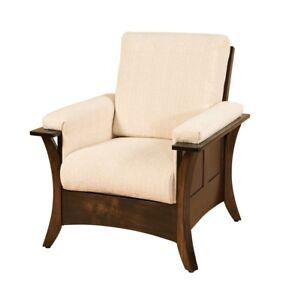 Amish Modern Upholstered Living Room Chair Solid Wood Back Surround Caledonia