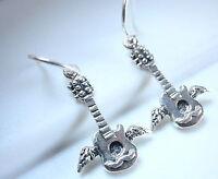 Winged Guitar Earrings 925 Sterling Silver Dangle Corona Sun Jewelry