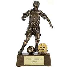 RESIN MAN OF THE MATCH FOOTBALL PLAYER TROPHY 10.75cm FREE ENGRAVING A876A SS