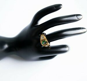 Birthstone May Emerald Ring Ring 14k Yellow Gold Filled Icy Cluster GMS SZ 10