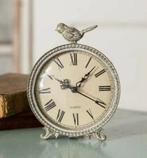 Songbird Tabletop Clock Desk Shelf Cottage Farmhouse French Farmhouse Chic