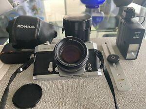 Konica Autoreflex T Camera Bundle, Hexanon AR 57mm & Sunpak 32l flash & Bar