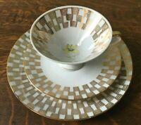 Vintage Winterling Kirchenlamitz Bavaria Gold / Floral Luncheon Set Cup & Plates