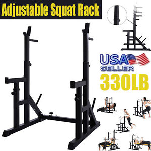 Adjustable Barbell Squat Power Rack Weight Bench Press Barbell Stand Holder Gym