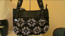 Black and clear stones  Shoulder Bag with flowers Style rhinestones