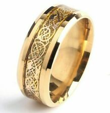 Unisex Men Women 8mm Ring Jewelry Gold Carbon Fiber Dragon Stainless Steel Rings