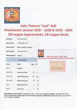JACK BALL MANCHESTER UNITED 1929-30 & 1933-34 VERY RARE ORIGINAL SIGNED CUTTING