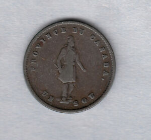 1852 Quebec Bank Token ~ Half Penny Token ~ PC-3; BR 529 ~ Fine Condition!