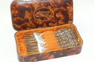6 Old Silver Cake Forks Hildesheim Rose Silver Cutlery 800er Silver